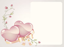 Romantic background. With rose branch, hearts and silk bow Royalty Free Stock Photos