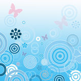 Romantic background. Romantic blue background with butterflies, circles and flowers Royalty Free Stock Photo