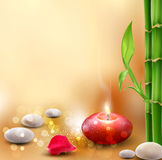 Romantic background with bamboo. Vector romantic background with bamboo and lit candles Royalty Free Stock Images