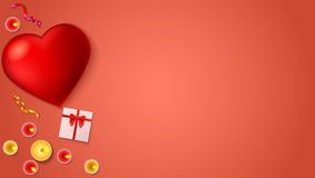 Romantic background, big red heart, burning candles, gift box with red bow and ribbon, colored serpentine. Stock Images