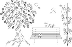 Romantic background with blooming tree, loving birds, bench, black and white hand drawn anti stress coloring book Royalty Free Stock Photo