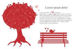 Romantic background with blooming tree, loving birds, bench, lorem ipsum, red and white hand drawn Stock Photography