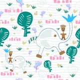 Romantic background of The boy with cute elephant in the forest. Seamless Heart pattern and big trees,rocks, flowers. hand drawing for fabric, wallpaper royalty free illustration