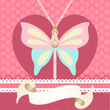 Romantic background with butterfly illustration Stock Photography