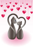 Romantic background with cats Royalty Free Stock Photography