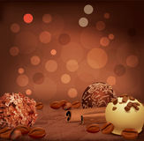 Romantic background with chocolates Stock Photo