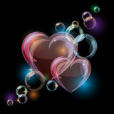 Romantic background with colorful bubble hearts Stock Photo