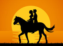 Romantic background with couple riding horse on the beach at sunset silhouette. Illustration Royalty Free Stock Photo