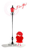 Romantic background with cute little girl Royalty Free Stock Photo