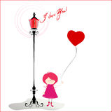 Romantic background with cute little girl Royalty Free Stock Photography