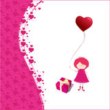Romantic background with cute little girl Royalty Free Stock Image