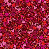Romantic background, different hearts seamless pattern. Royalty Free Stock Image