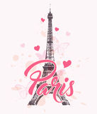Romantic background with Eiffel Tower. Hearts and pink butterflies. Vector illustration Royalty Free Stock Image