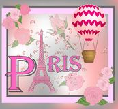 Romantic background with Eiffel Tower and pink roses.  vector illustration