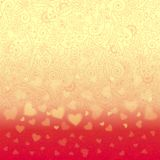 Romantic background with floral ornament and hearts Stock Image