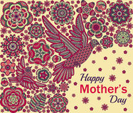 Romantic background with flowers, birds and ladybug. Card design for Happy Mothers Day Royalty Free Stock Photography