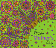 Romantic background with flowers, birds and ladybug. Card design for Happy Mothers Day Stock Photo