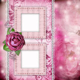 Romantic background with frames, rose, lace Stock Photography