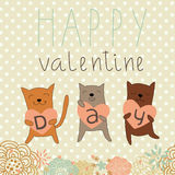 Romantic background with funny cats Stock Images