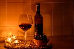 Romantic background with glasses of wine Royalty Free Stock Image