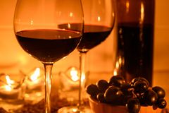 Romantic background with glasses of wine Stock Image
