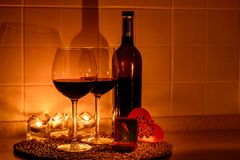 Romantic background with glasses of wine and ring Stock Photos