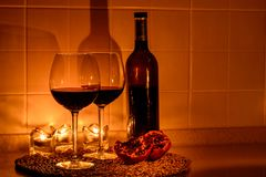 Romantic background with glasses of wine Stock Photography
