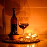 Romantic background with glasses of wine Stock Photo