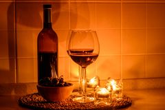 Romantic background with glasses of wine Royalty Free Stock Photography