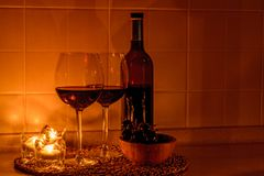 Romantic background with glasses of wine Royalty Free Stock Images