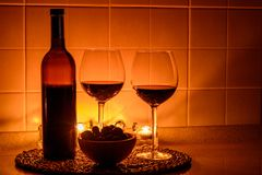 Romantic background with glasses of wine Royalty Free Stock Photos