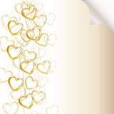 Romantic background with golden chains and heart Stock Photography