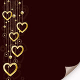 Romantic background with golden hearts Stock Photography
