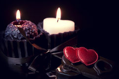 Romantic background with hearts and candles Stock Image