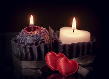 Romantic background with hearts and candles Stock Photo