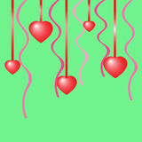 Romantic background with hearts. With ribbons greeting card Stock Photo