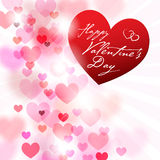 Romantic background with hearts and Valentines wish Stock Photo
