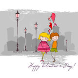 Romantic background with illustrated couple Royalty Free Stock Images