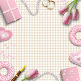 Romantic background, inspired by flat lay style, illustration Stock Photo