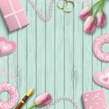 Romantic background, inspired by flat lay style, illustration Stock Photography