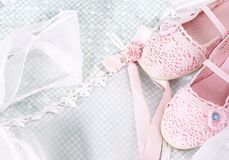 Romantic background with lace nad pink shoes Royalty Free Stock Image
