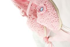 Romantic background with lace nad pink shoes Royalty Free Stock Photos