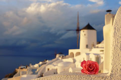 Romantic background of Oia village in Santorini island, Greece Royalty Free Stock Photos
