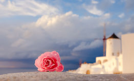 Romantic background of Oia village in Santorini island, Greece Royalty Free Stock Image