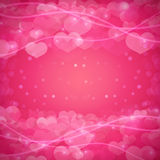 Romantic background with a pattern of hearts and sparkles. Template for invitations, banners, brochures. Good for Royalty Free Stock Image