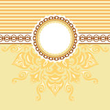 Romantic background with pattern and label. Beige  Royalty Free Stock Photo