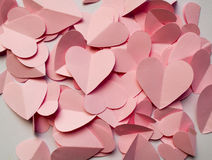 Romantic background of pink hearts Stock Photo