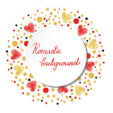Romantic background with red and gold sparkling hearts Royalty Free Stock Photo