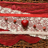 Romantic background with red hearts. And ribbons Royalty Free Stock Images