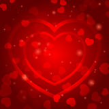 Romantic background with red hearts Royalty Free Stock Photos